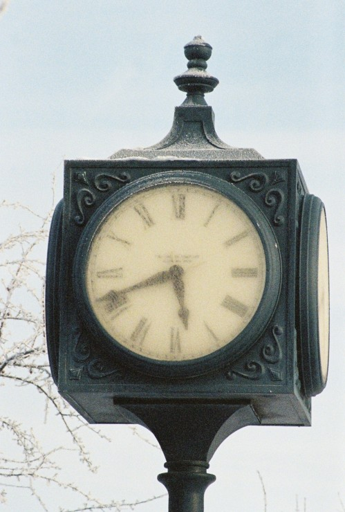 Clock in Winter in Grand Forks, ND