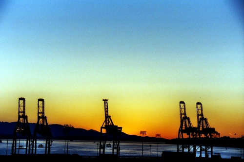 Cranes on the Seattle Water Front at Sunset, July 2003