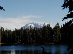 Mt. Adams over Deep Lake in Indian Heaven Wilderness, WA