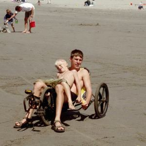 Gareth & Colin on Beach Triciycle, Seaside, Oregon, 2002