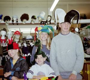 Almberg Kids with Funny Hats, Seaside, Oregon, 2002