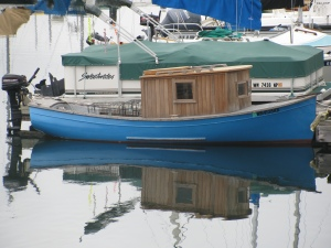 Small Blue Boat in Harbor, Port Townsend, Washington, 2010