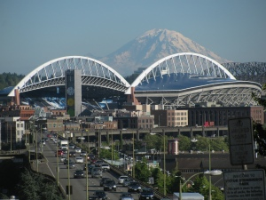 Mount Rainier Behind Safeco Field, Seattle, Washington, 2010