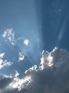 Sunburst From Clouds, Photography, July 2010