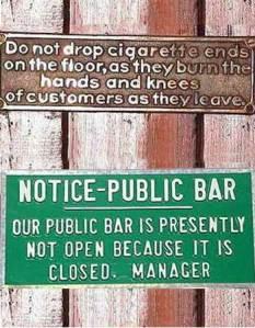 Public Bar Signs