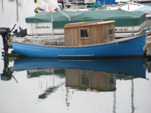 Small Blue Boat Reflection in Port Townsend Harbor
